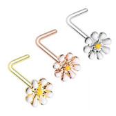 3-Pack Set Dainty Daisy L Shaped Nose Rings 20G