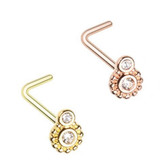 2-Pack Set Steampunk Gear L Shaped Nose Rings 20G