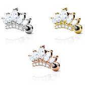 Princess Tiara Crown Steel Cartilage Tragus Stud