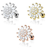 Super Shine Flower Steel Cartilage Tragus Stud
