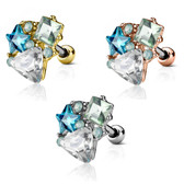 Crystal Accent Shape Medley Cartilage Tragus Stud