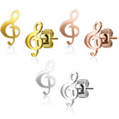 Treble Clef Musical Note Steel Stud Earrings