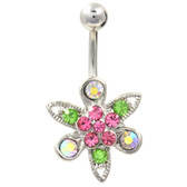 Multi Gem Budding Flower Belly Ring
