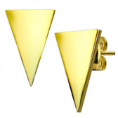 Modern Triangle Shaped Goldtone IP Stud Earrings