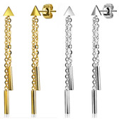 Triangle & Chains Dangle Steel Stud Earrings