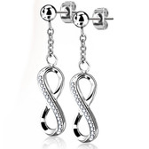 Ball Stud Infinity Symbol Dangle Steel Stud Earrings