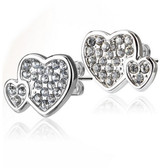 Double Heart CZ Paved Steel Stud Earrings
