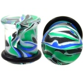 "Blue/Green Marble Swirl Single Flared Plugs (6g-1/2"")"