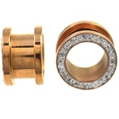 "Rose Gold IP Steel Clear Gem Rim Screw Tunnels (10g-5/8"")"