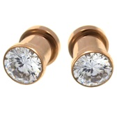 Rose Goldtone PVD Clear CZ Gem Ear Plugs (8g-00g)