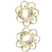 "Gold-Tone Brass Filigree Loops Tunnels (2g-5/8"")"