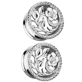 "Flower & Vines Steel Double Flared Tunnels (2g-5/8"")"