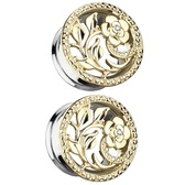 "Flower & Vines Goldtone Tunnels (2g-5/8"")"