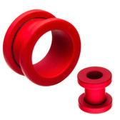 "Red Silicone Coated Matte Screw-Fit Tunnels (2g-5/8"")"