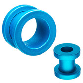 "Aqua Silicone Coated Matte Screw-Fit Tunnels (2g-5/8"")"