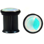 "Iridescent Dome Top Double Flared Black Plugs (2g-5/8"")"