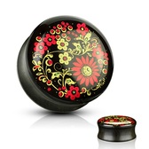"Flowers Print Ebony Wood Saddle Plugs (2g-1"")"