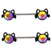 PAIR - AB Accent Black Cat Steel Nipple Ring Barbells