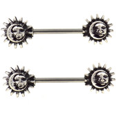 PAIR - Sun & Moon Steel Nipple Ring Barbells