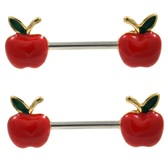 PAIR - Red Apple Steel Nipple Ring Barbells