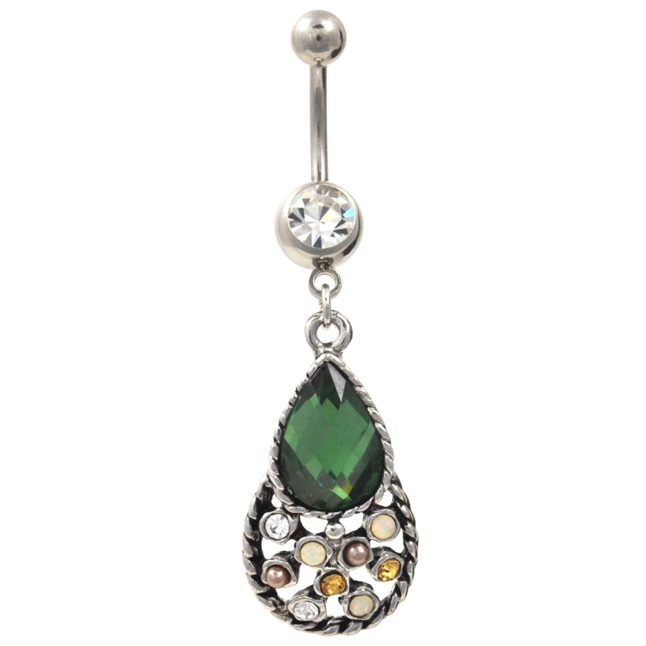 Emerald Green Tear Drop Pendant Belly Ring