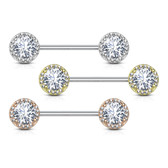 PAIR - Sparkle Circle Large CZ Steel Nipple Barbells