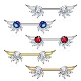 PAIR - Prong CZ Fancy Angel Wings Steel Nipple Barbells