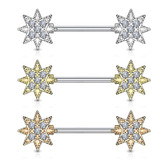 PAIR - CZ Paved Starburst Steel Nipple Barbells
