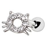 Sparkle Kitty Cat Cartilage Tragus Stud 16G 1/4""