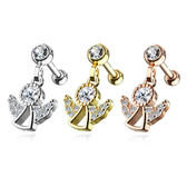 CZ Angel Dangle Steel Cartilage Tragus Stud