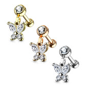 Jeweled Butterfly Dangle Steel Cartilage Tragus Stud