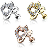 Devilish Heart Steel Cartilage Tragus Stud
