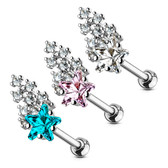 Shooting Star CZ Cluster Steel Cartilage Tragus Stud