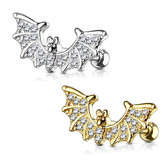 CZ Wings Bat Steel Cartilage Tragus Stud