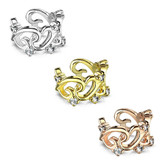 Filigree CZ Hearts Non Piercing Cartilage Earring
