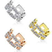 CZ Paved Square Links Non Piercing Cartilage Earring