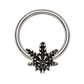 Pot Leaf Design Steel CBR Hoop 16G 3/8""