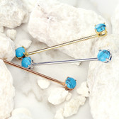 Prong Synthetic Turquoise Steel Industrial Bar 14G