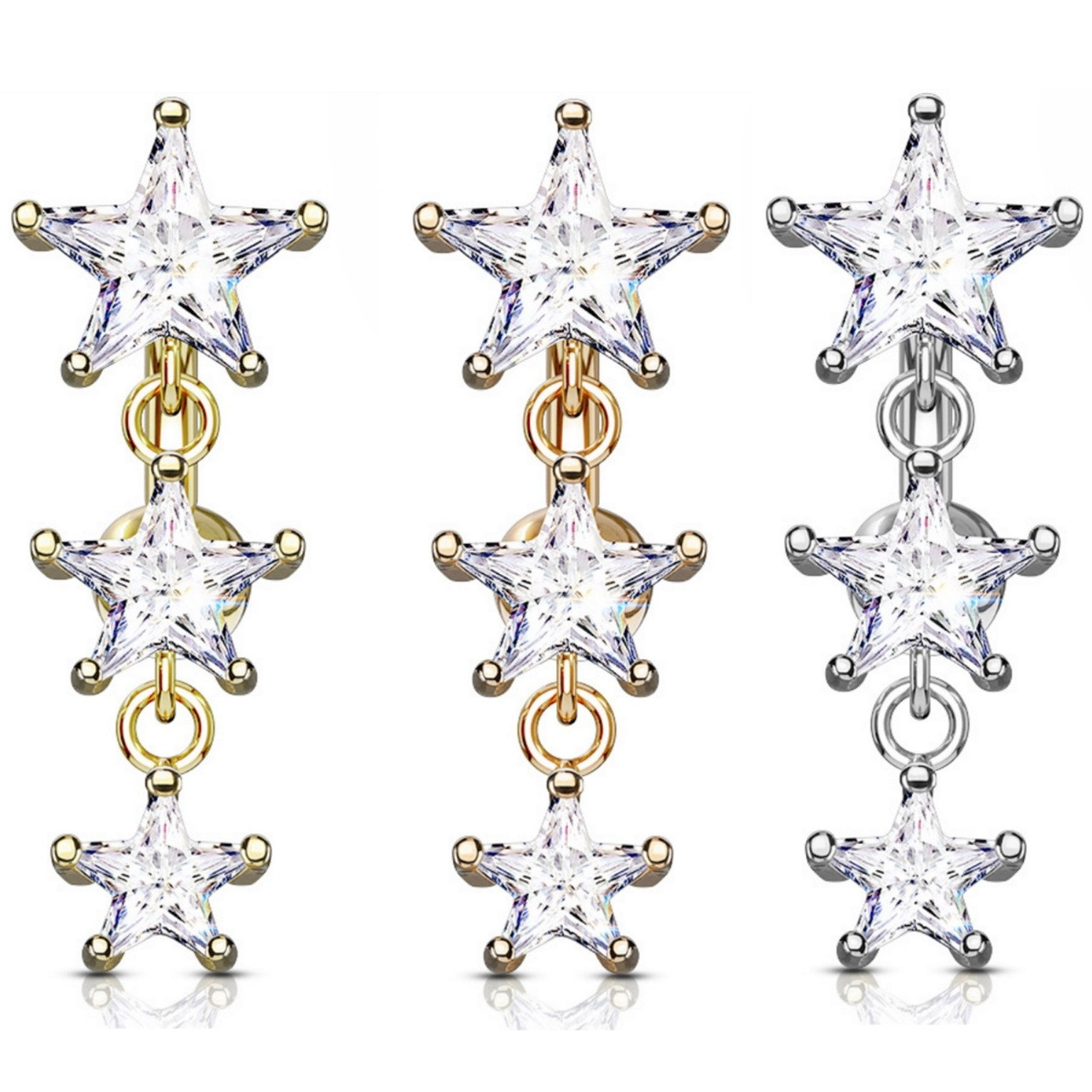 Triple Star Cz Top Drop Dangle Steel Belly Ring