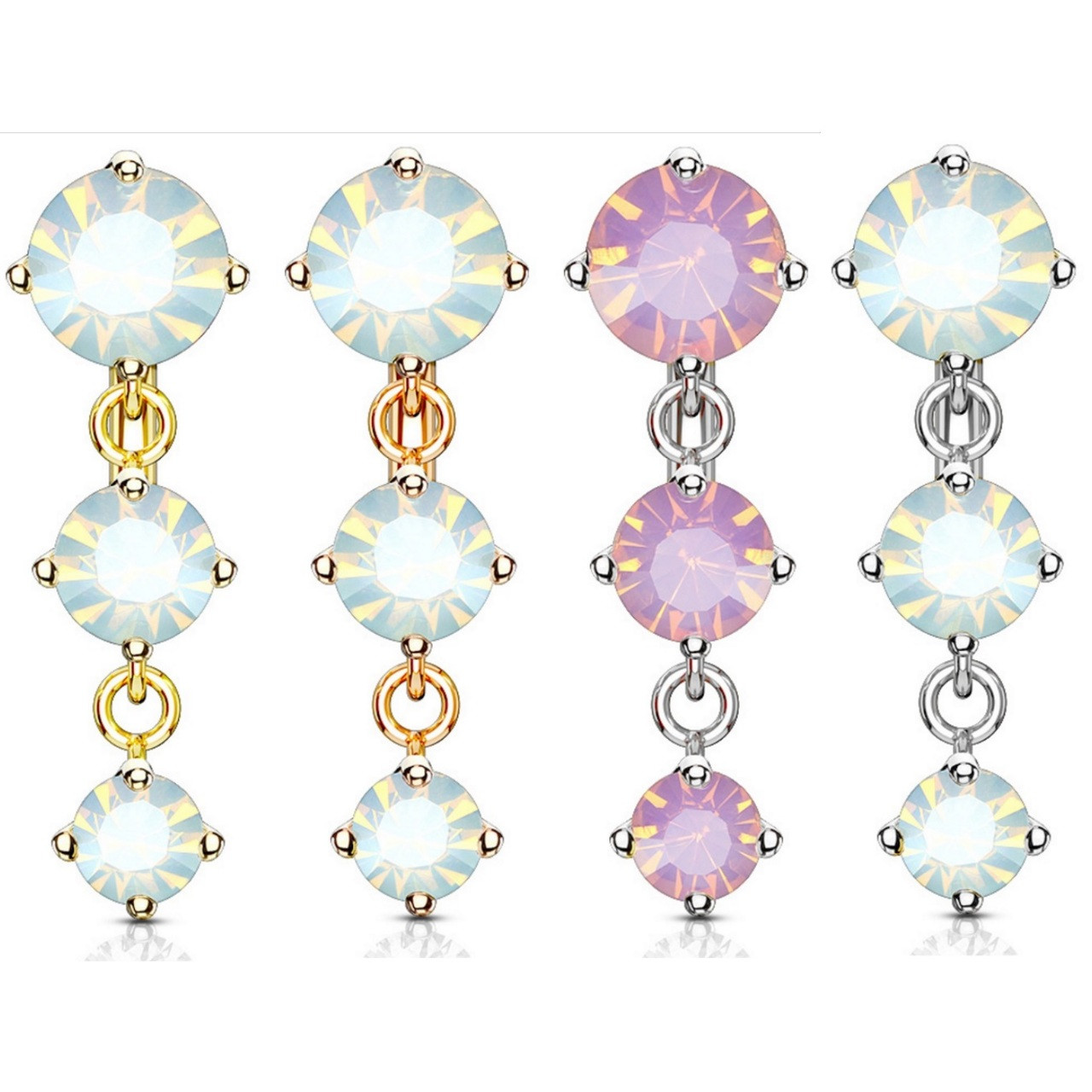 Triple Opalite Top Drop Dangle Steel Belly Ring