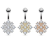 Clear Accent Paved Starburst Steel Belly Ring