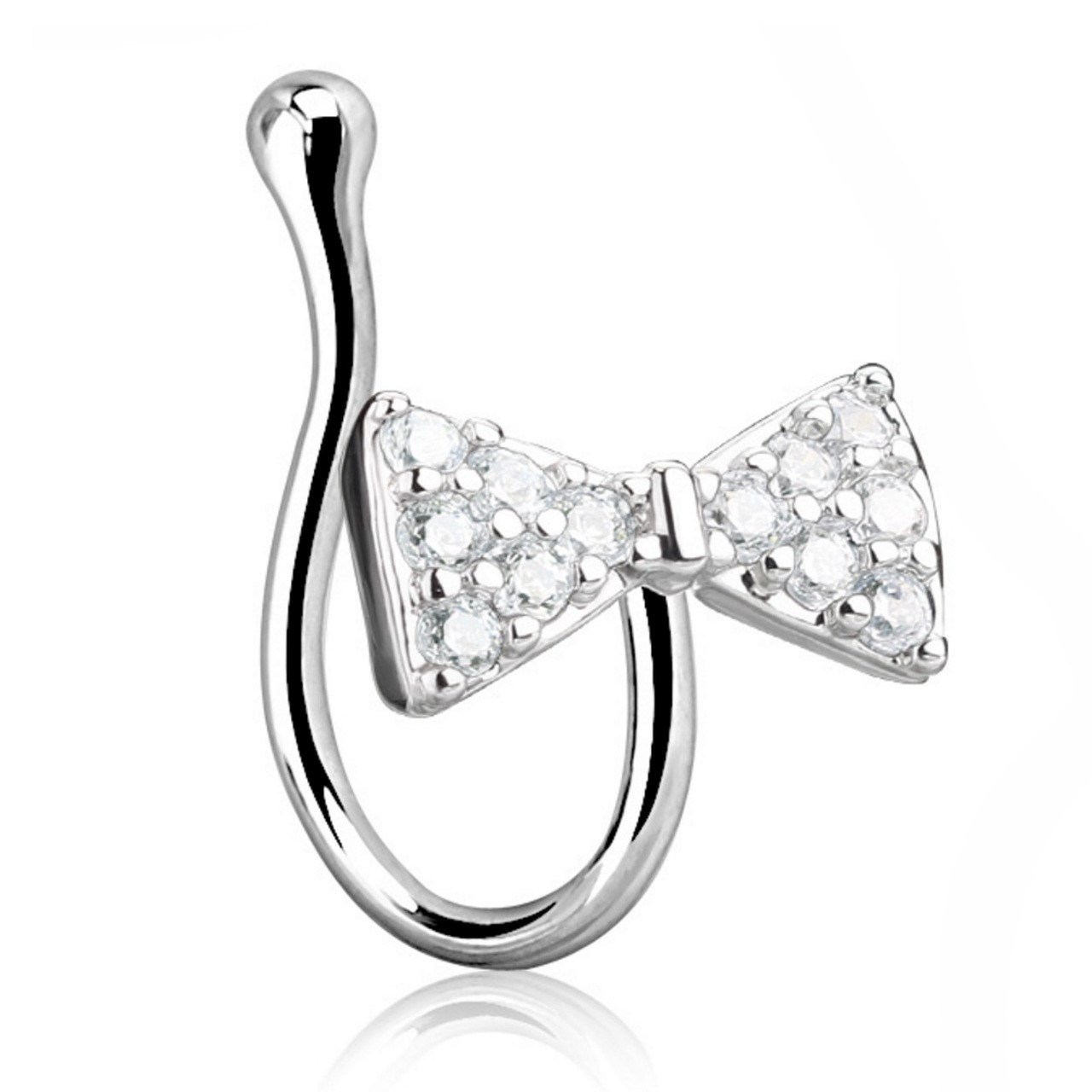 Cz Paved Bow Tie Nose Ring Clip Non Piercing Bodydazz Com