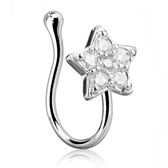 CZ Paved Star Nose Ring Clip (Non-Piercing)