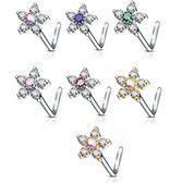 6-Gem Flower L Shaped Steel Nose Ring 20G