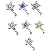 6-Gem Flower Steel Nose Ring Bone Stud 20G