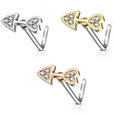 CZ Arrow Heart Design L Shaped Nose Ring 20G