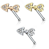 CZ Arrow Heart Design Nose Ring Bone Stud 20G