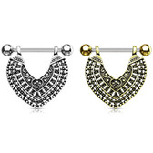 PAIR - Vintage Tribal Heart Dangle Nipple Barbells 14G
