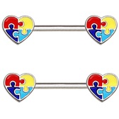 PAIR - Heart Shaped Puzzle Steel Nipple Ring Barbells