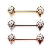 PAIR - Ornate CZ Center Steel Nipple Ring Barbells